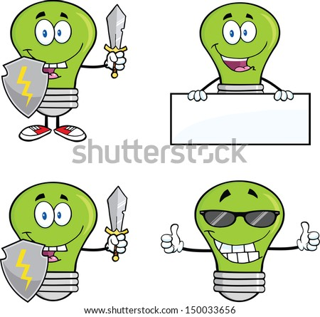 Green Light Bulbs Cartoon Characters. Set Vector Collection 1
