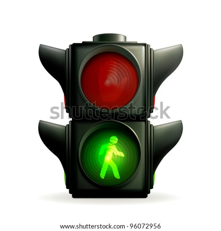 Green light, vector - stock vector