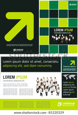 Green lime and black template for advertising brochure with business people - stock vector