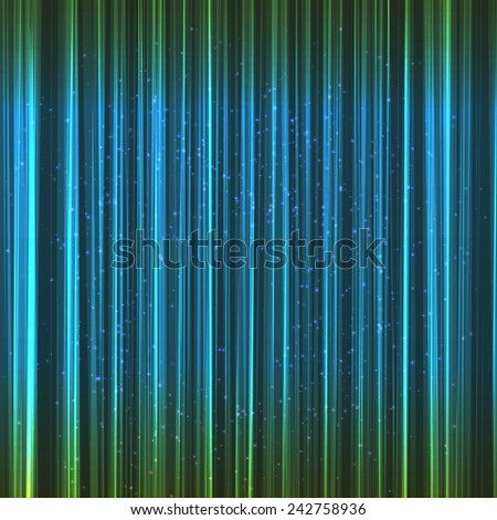 Green lines abstract bright background with lights. Vector EPS10. - stock vector