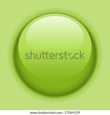 Green liquid button or icon. Vector illustration. - stock vector