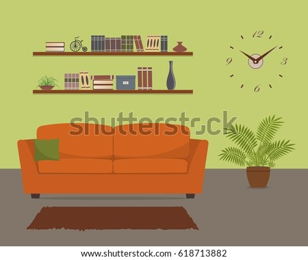 Green Living Room With Orange Sofa And Big Clock On The Wall There Are Also