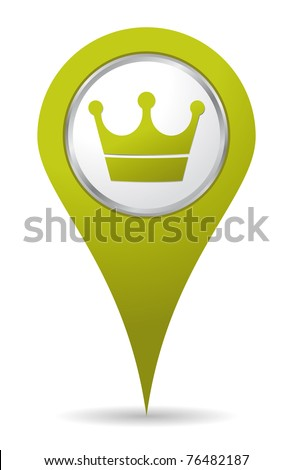 green location crown icon - stock vector
