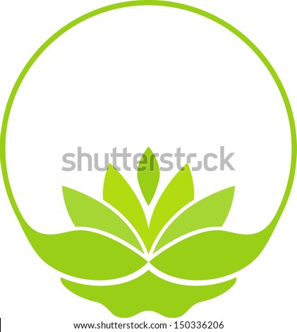 Green lotus symbol - stock vector