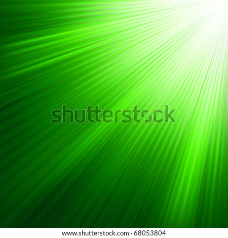 Green luminous rays. EPS 8 vector file included - stock vector