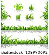 Green lush grass with dew and ladybirds - a set of elements for design - stock photo
