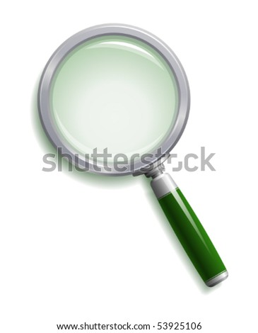 Green magnifying glass - stock vector