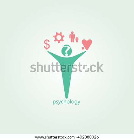 Green man pink icon and gradients background for psychology logo design - stock vector