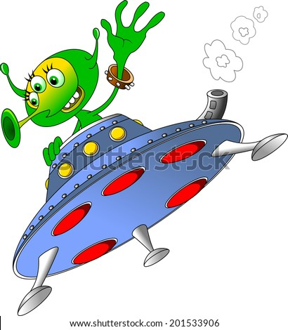 Green man waving from the spacecraft, the vector  - stock vector