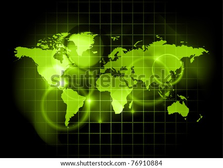 green map of the world - stock vector