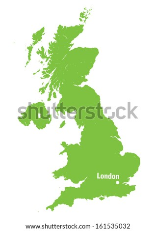 green map of United Kingdom with location of London - stock vector