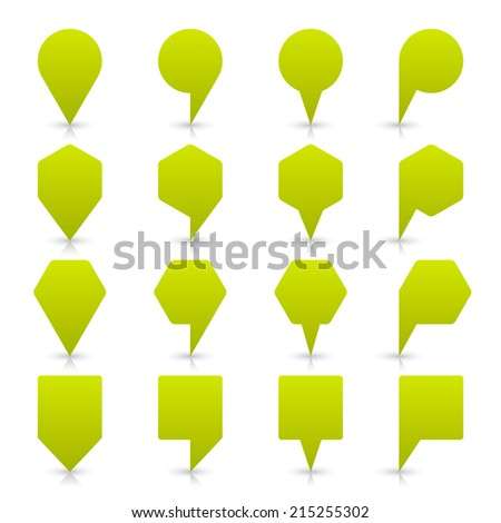 Green map pin sign location icon with gray shadow and reflection on white background  in simple flat style. This web design element save in vector illustration 8 eps - stock vector