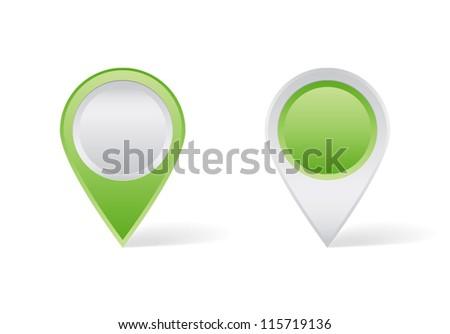 Green map pins - stock vector