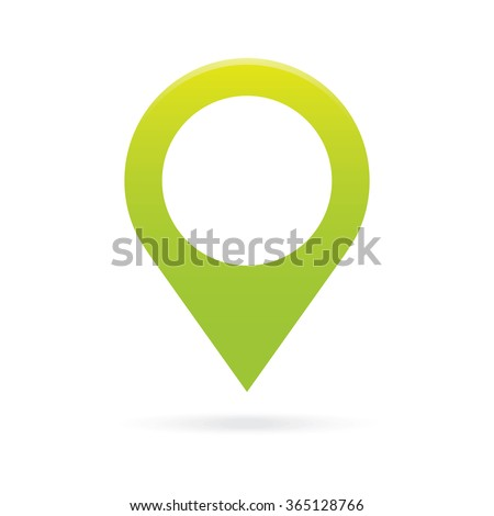 green map pointer icon marker GPS location flag symbol - stock vector