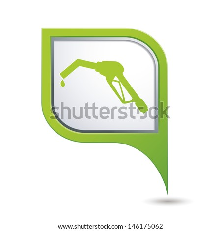 Green map pointer with gas station icon. Vector illustration