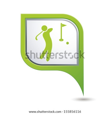 Green map pointer with golf icon. - stock vector