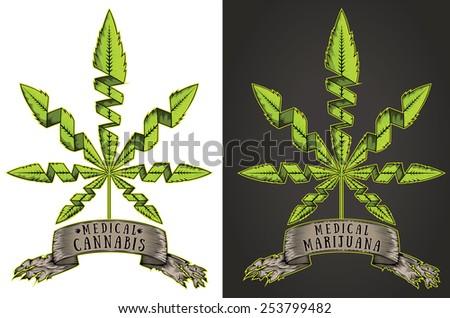 green marijuana cannabis leaf symbol paper parchment vector - stock vector