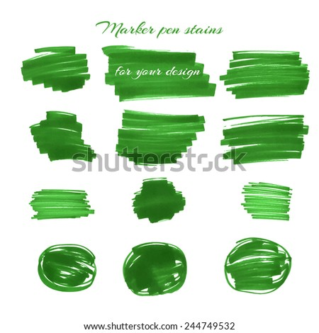 Green marker pen spots and lines isolated on a white background for your design. Vector illustration. - stock vector