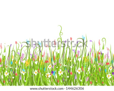 Green meadow, seamless pattern for your design - stock vector