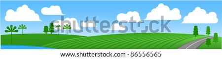 Green meadow vector banner. - stock vector