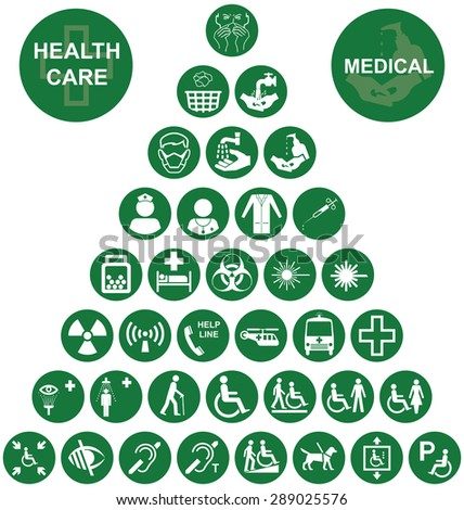 Green Medical and health care related pyramid icon collection isolated on white background - stock vector