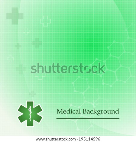 green medical background and cross icon pattern with asclepius (vector ...