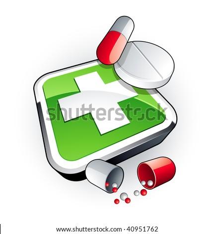 Green medicine - stock vector