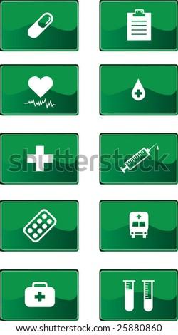 Green medicine icons set (Vector) - stock vector