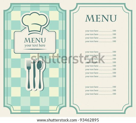 green menu for a cafe or restaurant - stock vector