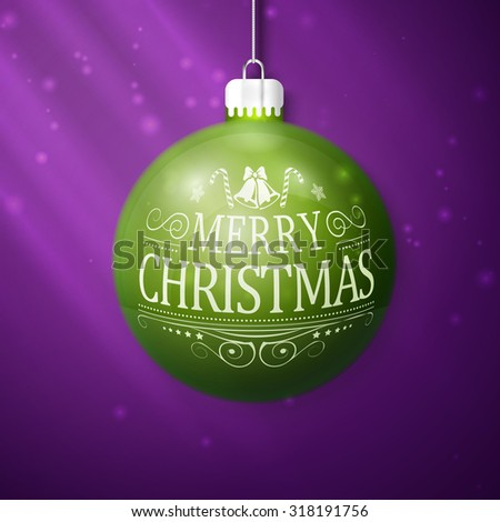 green merry christmas ball isolated on violet background - stock vector