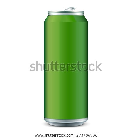 Green Metal Aluminum Beverage Drink Can 500ml. Ready For Your Design. Product Packing Vector EPS10  - stock vector