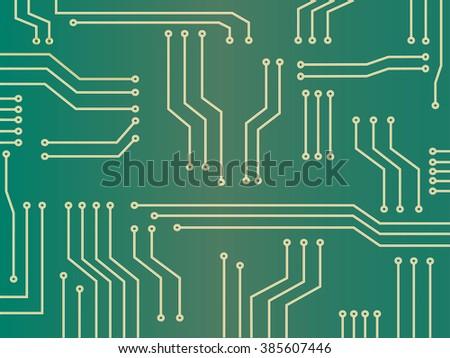 green microchip technology background - stock vector
