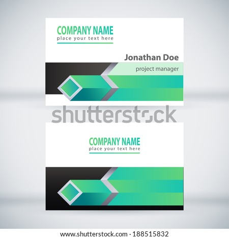 Green Modern Business Card Set. Vector Design - stock vector