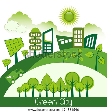 Green modern city living concept. - stock vector