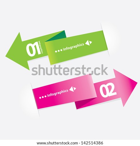 Green modern Design template / can be used for infographics / numbered banners / horizontal cutout lines / graphic or website layout vector