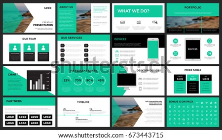 green modern presentation template you can stock vector 673443715, Presentation templates