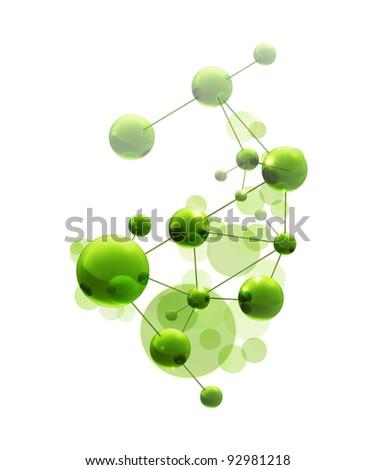 Green molecule, vector - stock vector