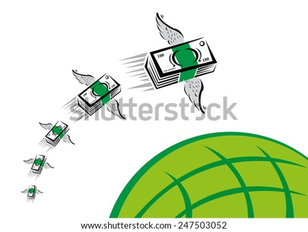 Green Money with wings flies fast over a green globe - stock vector