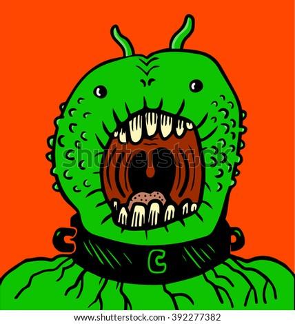 Green monster with fetter in neck - stock vector