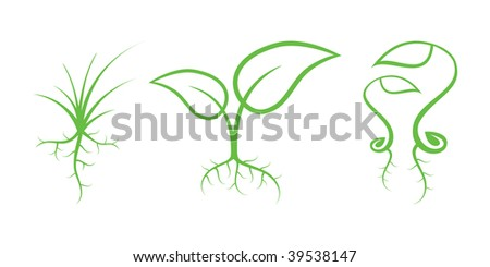 Green Nature Icons. Part 7 - Sprouts - stock vector