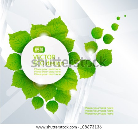 Green nature leaves vector background.Think Green. Ecology Concept. - stock vector