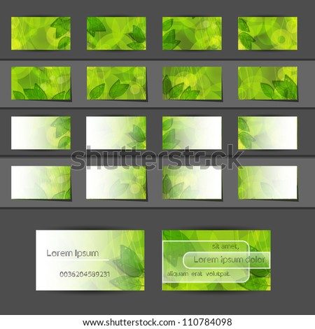 Green nature modern abstract vector business stock vector 110784098 green nature modern abstract vector business card eith leaf reheart