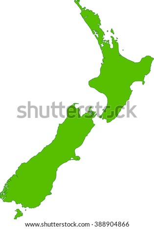 Green New Zealand map Illustration on a white background