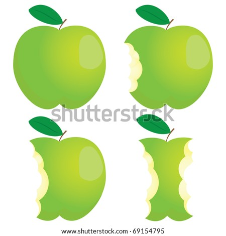 Green nibbled apple. Different states. - stock vector