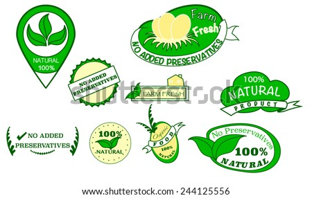 Green no added preservatives ,natural sign vector