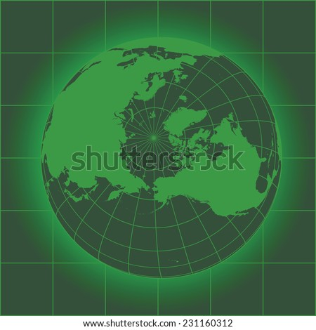 Green North Pole map. Europe, Greenland, Asia, America, Russia. Earth globe as seen in an old monitor. Elements of this image furnished by NASA - stock vector