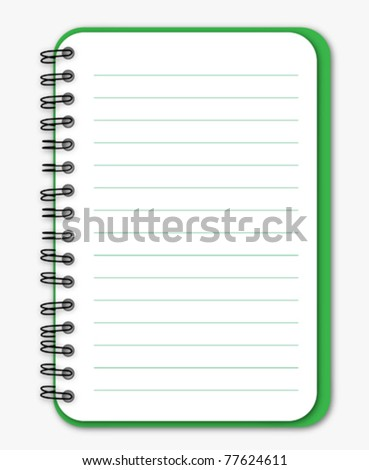 Green notebook - stock vector