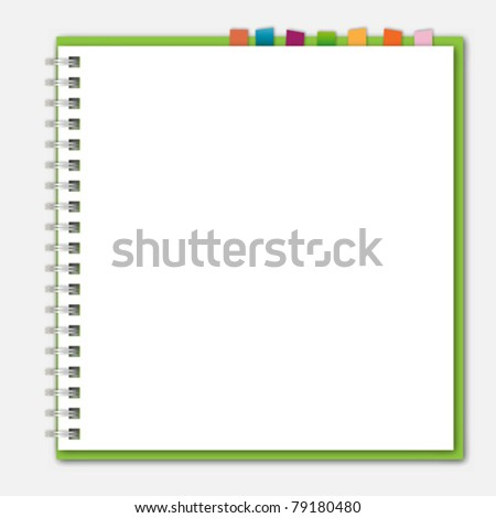 Green notebook bookmark - stock vector