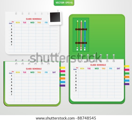 Green notebook Class School schedule and pencil, instant photo. Vector template for design work - stock vector