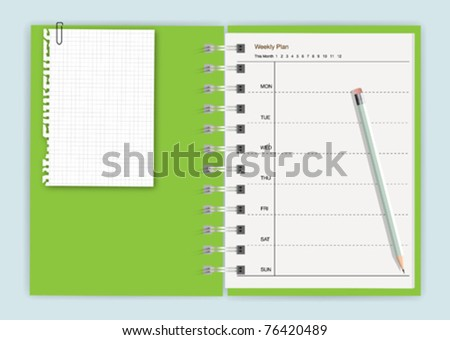 Green notebook planner with note paper and pencil - stock vector